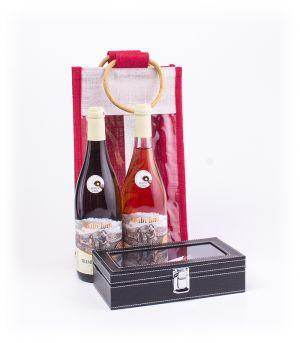 2 palack bort tartalmazó ajándék jutatáska és sommelierszett