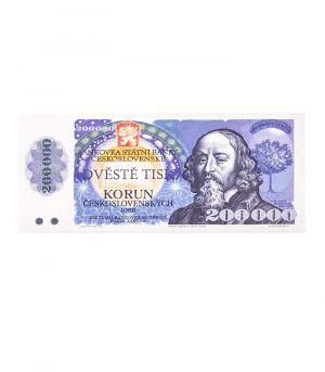 Csehszlovák bankjegy 200 000 Kčs, 60g