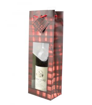 Ablakos italtartó ajándéktasak - Kockás